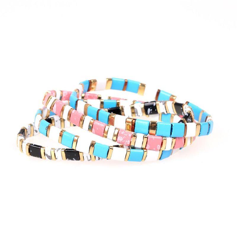 Fashion Bracelet Women's Paint Candy Contrast Color Hand-woven Stretch Bracelets NHPY199141