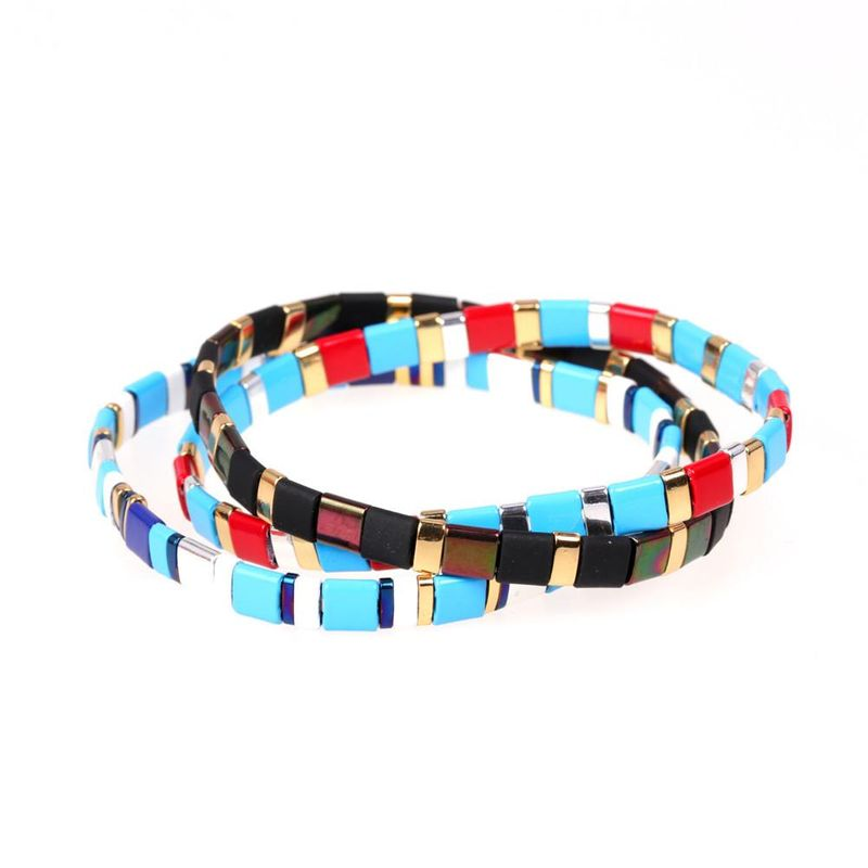 New beaded lacquered candy contrast hand-woven stretch bracelet NHPY199145