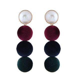 Pendientes de terciopelo de perlas salvajes simples de metal de moda NHSC199719's discount tags