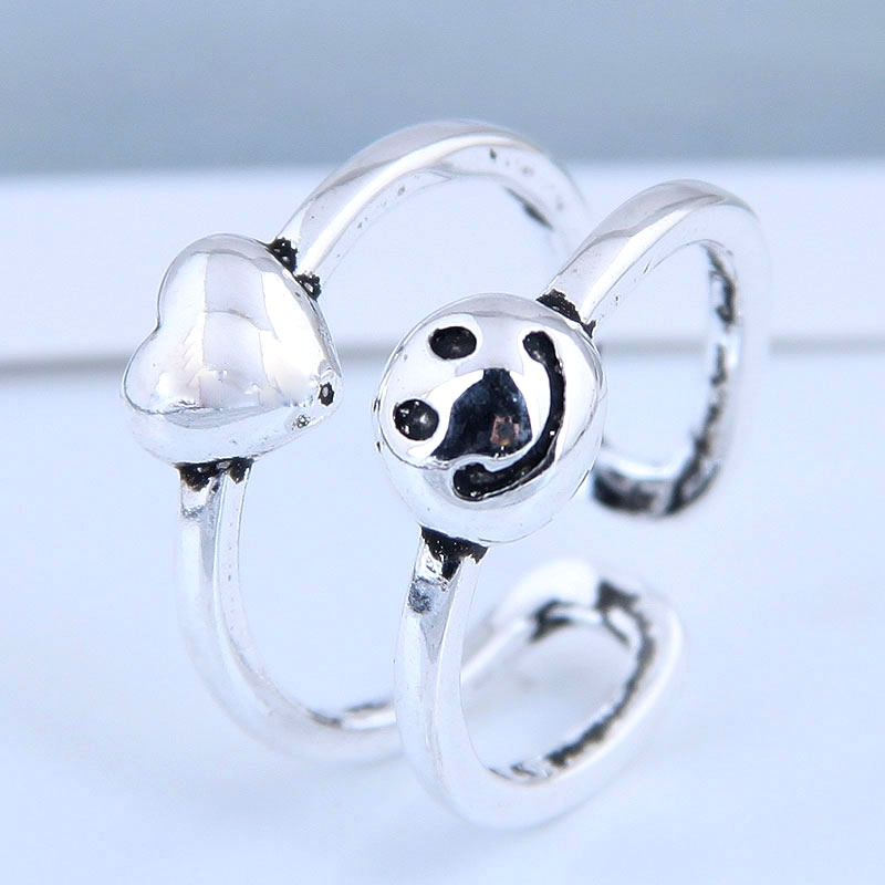 Exquisite Fashion Ring Wholesale Retro Smiley Love Open Ring NHSC199715