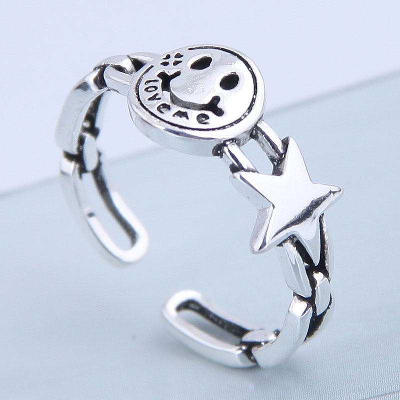 Exquisite ring wholesale retro smiley meteor open ring NHSC199698