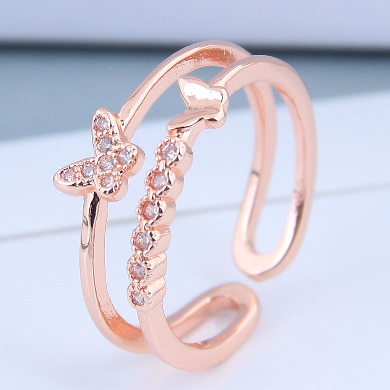 Delicate Korean Fashion Sweet Card Copper Inlaid Zircon Butterfly Dance Open Ring NHSC199688