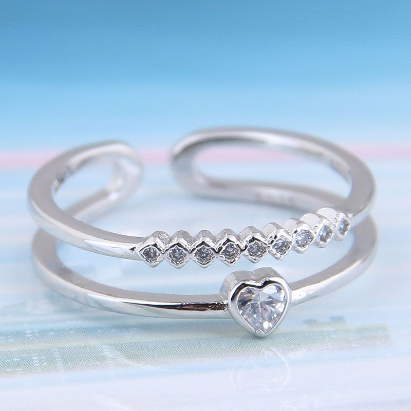 Delicate Korean fashion sweet card copper inlaid zircon simple love open ring NHSC199685