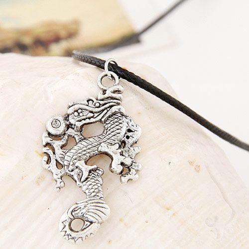 Fashion Metallic Lucky Dragon Leather Necklace Wholesale NHSC199681