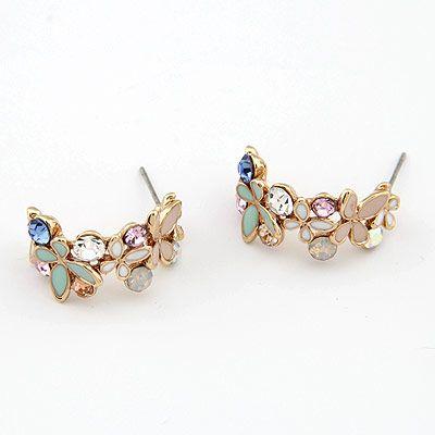 Boutique Korean Fashion Sweet Butterfly Dance Stud Earrings NHSC199678