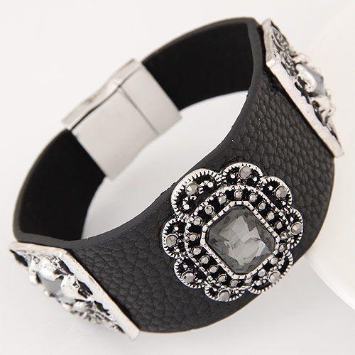 Fashion metallic wild gem leather simple temperament bracelet NHSC199676