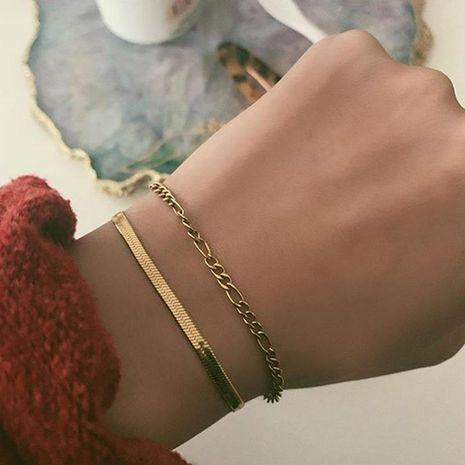 Joyería moda simple cadena de metal geométrica cadena de serpiente pulsera combinada NHNZ195974's discount tags