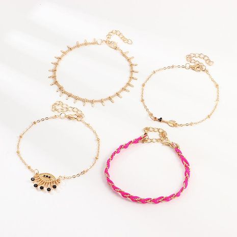 Bijoux Simple Fashion Colorful Woven Rope Set Metal Devil Eye Anklet NHNZ195975's discount tags