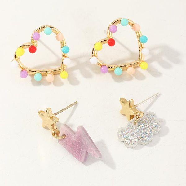 Jewelry Fashion Candy Color Love Bead Earrings Resin Cloud Lightning Stud Earring Set NHNZ195979
