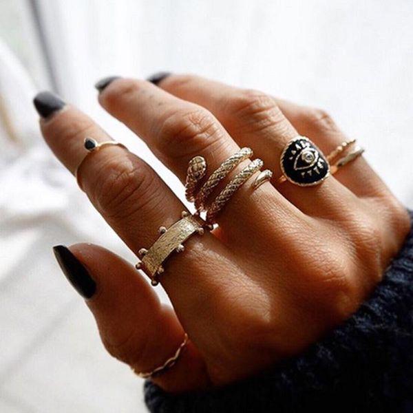 Pin de joyería Anillo de serpiente Anillo de aceite Ojos Set de anillos NHNZ195981