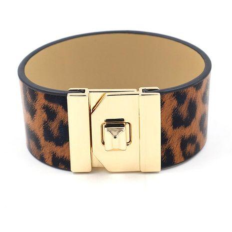 Nueva moda de leopardo PU ancho pulsera de cuero pulsera femenina pulsera de cuero exagerado de metal NHHM195984's discount tags