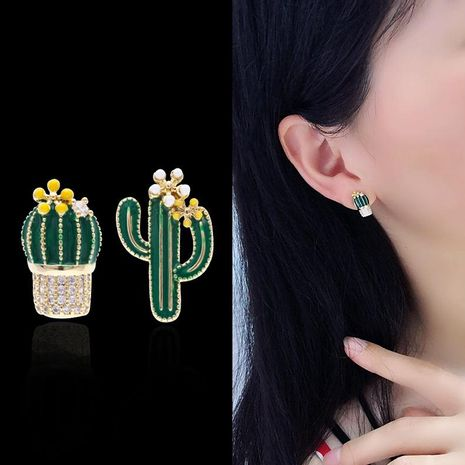 New asymmetric sterling silver needle micro inlaid zircon temperament earrings cactus earrings painted earrings NHDO195993's discount tags
