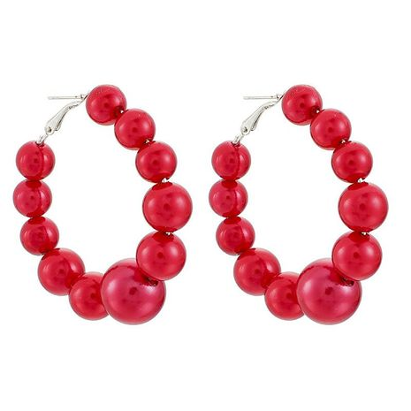 Popular jewelry exaggerated irregular red beads large circle earrings women NHGY195998's discount tags