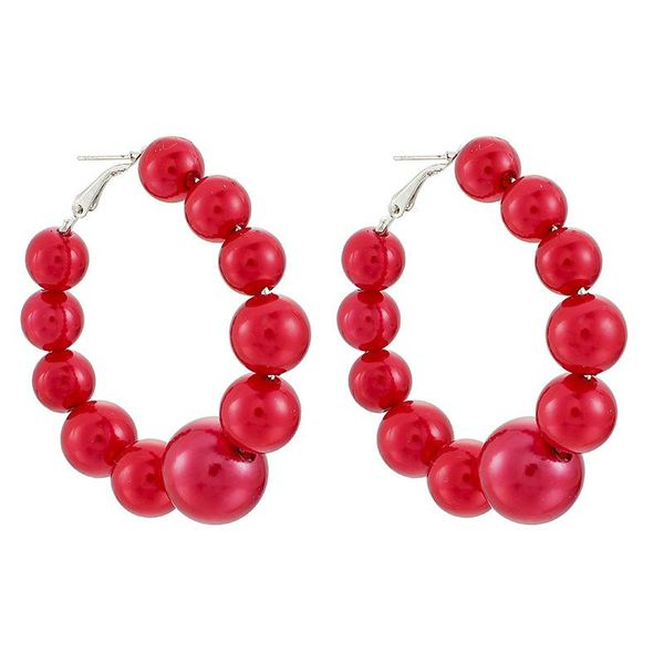 Popular jewelry exaggerated irregular red beads large circle earrings women NHGY195998