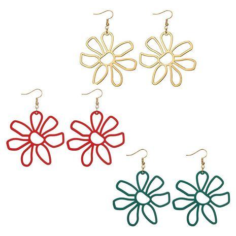 Korean new earrings fresh simple fashion hollow multicolor alloy petal flower earrings NHGY195999's discount tags