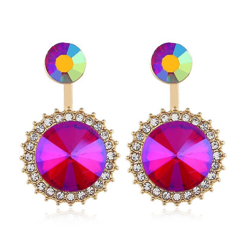 Geometric round temperament earrings female wild fashion gem pendants earrings jewelry wholesale NHVA196001