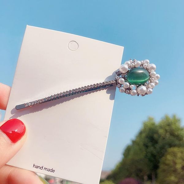 Emerald Classic Pearl Hair Clip Pop Full Diamond BB Clip Fairy Girl Side Clip NHMS196005