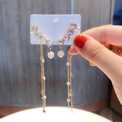 S925 Pendientes de borla de perlas de diamantes de imitación de plata Pendientes largos de lentejuelas de pentagrama Pendientes de oreja con clip de diamantes de imitación NHMS196006's discount tags