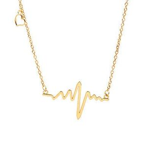 Wave Clavicle Chain ECG Necklace Heart Frequency Pendant Necklace Heart Chain Necklace Wholesale NHCU196008's discount tags