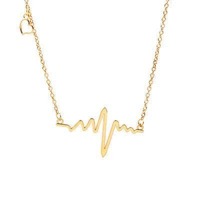 Collar de electrocardiograma de cadena de clavícula ondulada collar de frecuencia cardíaca collar de cadena de cuello collar de corazón NHCU196008's discount tags