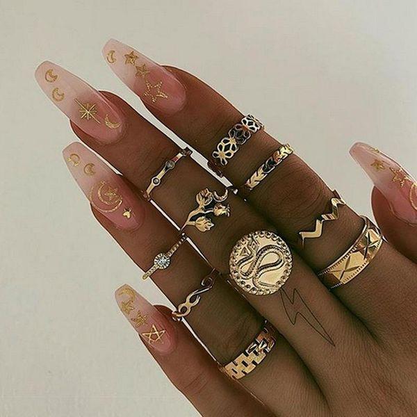 Fashion and gold round chassis snake rose wavy geometric pattern diamond ring set NHBQ196014