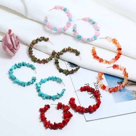 Hot new fashion geometric irregular stone earrings multi-color fashion creative earrings NHBQ196017's discount tags