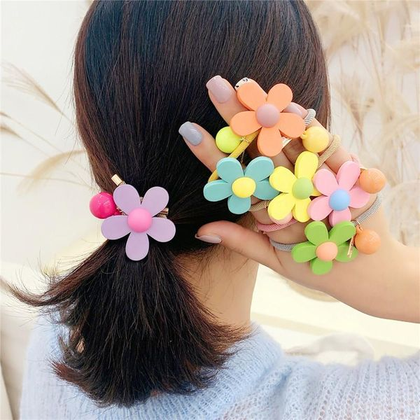 Jelly-colored flower hair ring Korean cute girly heart wooden flower hair rope rubber band hair accessories NHOF196018
