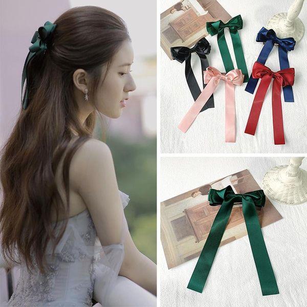 Hairpin hair band green ribbon day red bow headband streamer ponytail hair ring NHOF196035