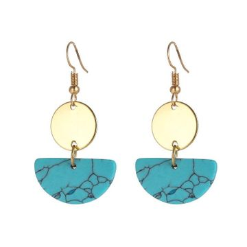 Jewelry Trend Semicircle Tricolor Turquoise Disc Geometric Earrings NHZU196062