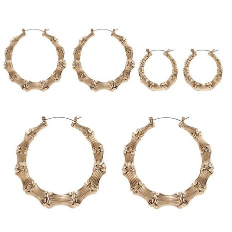 Hot sale women's round bamboo gold silver punk style earrings set women NHZU196067's discount tags