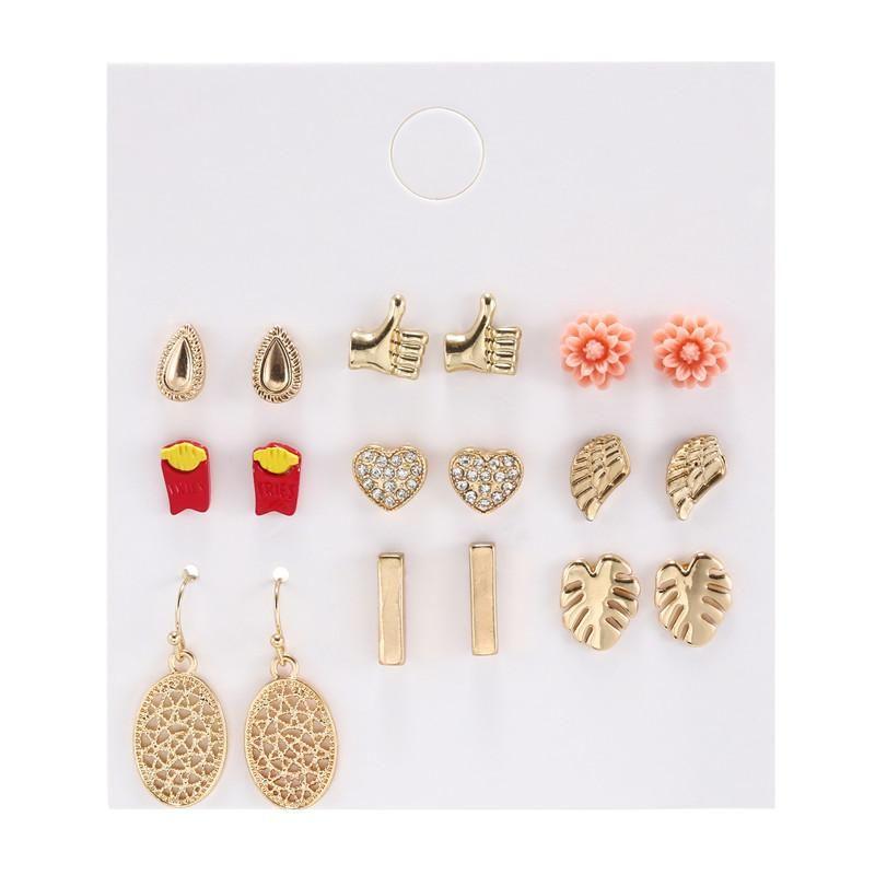 Women's geometric diamond love resin flower hollow leaf combination earring set women NHZU196071