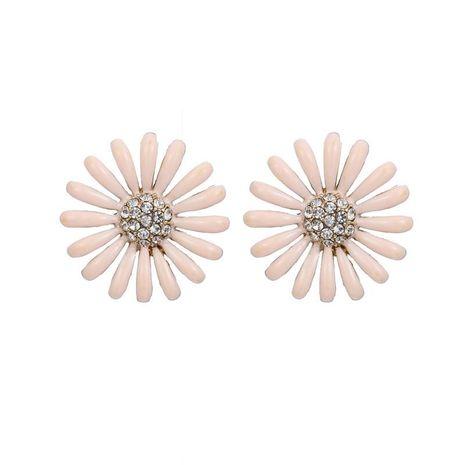 Korean fresh and sweet resin flower pink diamond combination earrings accessories women's wholesale NHZU196076's discount tags