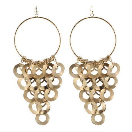 Fashion retro boho size circle smooth geometric pendant golden silver earrings for women NHZU196077's discount tags