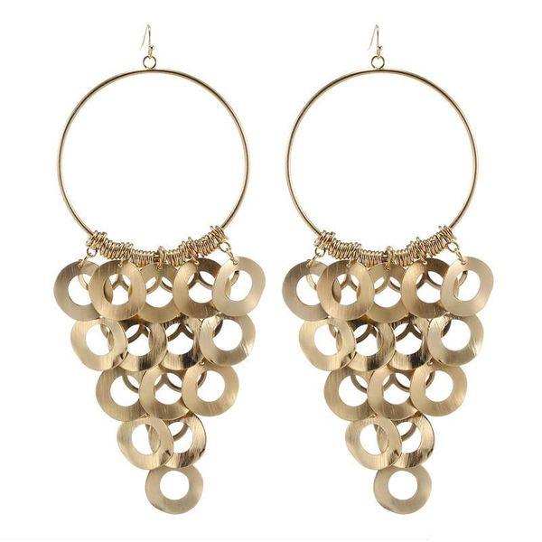 Fashion retro boho size circle smooth geometric pendant golden silver earrings for women NHZU196077