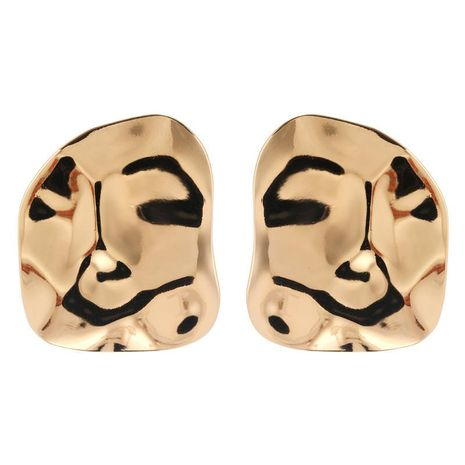 Exaggerated corrugated face glossy alloy earrings jewelry wholesale women NHZU196079's discount tags