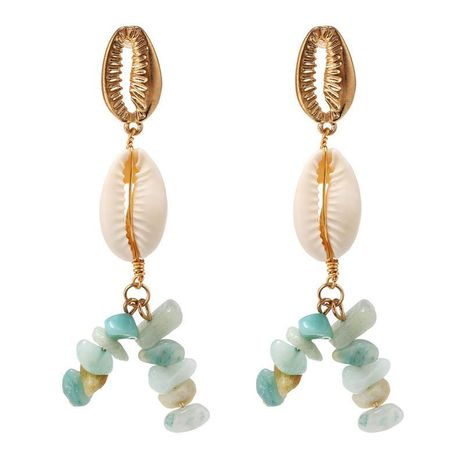 Jewelry hot fashion retro gravel shell marine series exaggerated metal long earrings women NHZU196080's discount tags