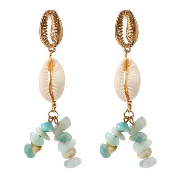 Jewelry hot fashion retro gravel shell marine series exaggerated metal long earrings women NHZU196080
