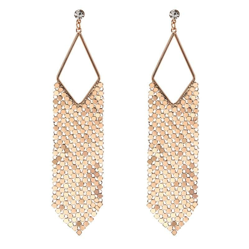 Hot sale bohemian alloy sequins diamond hollow diamond earrings wholesale jewelry women NHZU196082