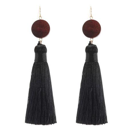 Retro trendy long black fringe wood earrings wholesale jewelry women NHZU196084's discount tags