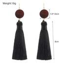 Retro trendy long black fringe wood earrings wholesale jewelry women NHZU196084