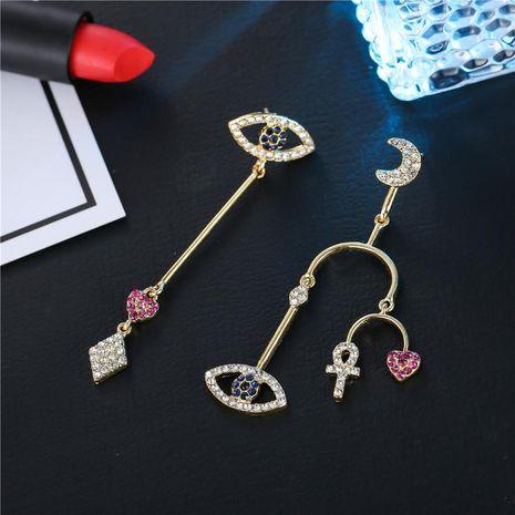 Hot irregular moon earrings with rhinestones for women NHZU196093's discount tags