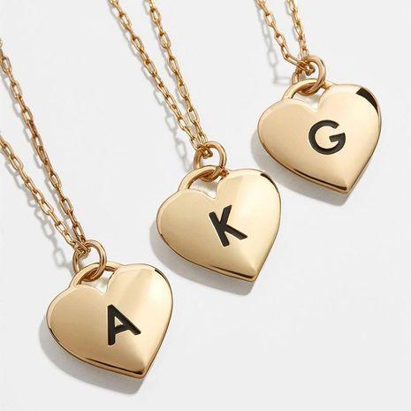 collar de letras en forma de corazón de aleación hipoalergénico 26 letras cadena de clavícula de amor cadena de cuello NHLL196098's discount tags