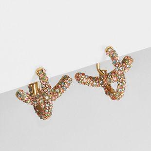 New Korean Earrings Full Diamond Cross Design Cross Ear Studs Fashion Earrings NHLL196099's discount tags
