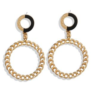 Jewelry New Exaggerated Fashion Chain Earrings Simple Metal Circle Retro Wild Earrings NHPF196101's discount tags