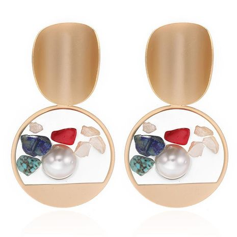 Fashionable new minimalist creative alloy round resin studded pearl turquoise earrings NHPF196102's discount tags