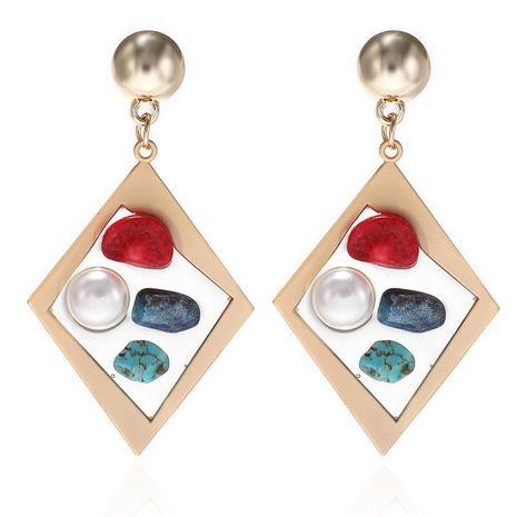 Moda nueva resina transparente creativa con incrustaciones de perlas de color aretes de piedra pendientes de diamantes de aleación de las mujeres NHPF196104's discount tags