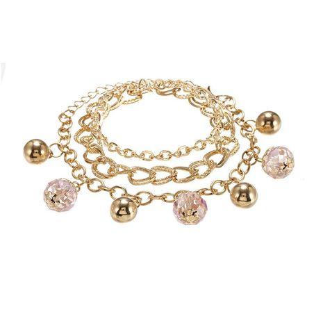 Joyas Pulsera de cadena de tres capas de bola de oro coreana Pulsera de bola de cristal salvaje de moda femenina NHPF196105's discount tags