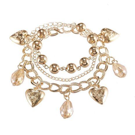 Pulsera de cadena de aleación multicapa de moda con pulsera colgante de cristal de amor de bola de metal NHPF196106's discount tags