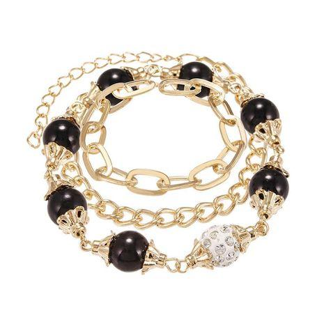 Joyería Moda Retro Pulsera de cadena de aleación de múltiples capas Creative Diamond Black White Beaded Bracelet NHPF196107's discount tags