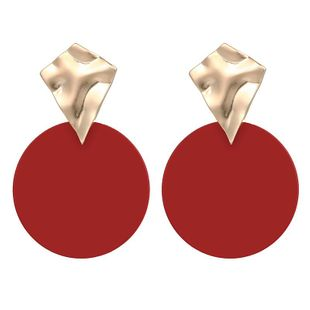 Geometric Metal Irregular Concavo-convex Mixed Color Disc Earrings Simple Fashion Earrings NHPF196115's discount tags